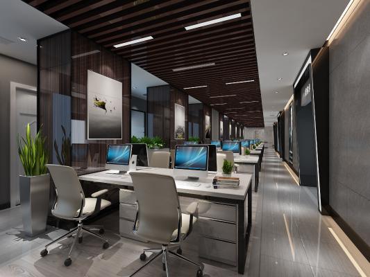 现代办公区3D模型【ID:941832582】