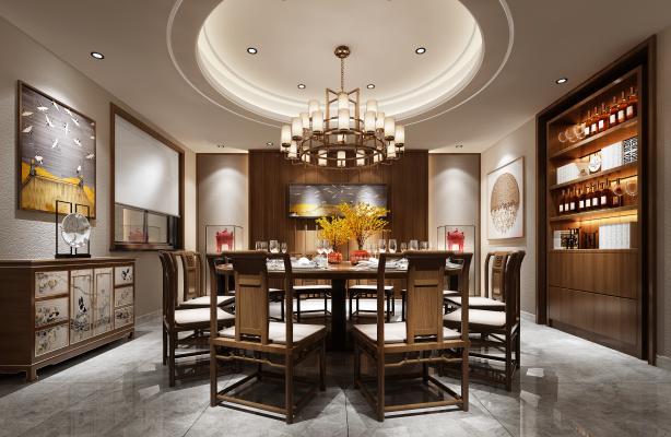新中式餐厅3D模型【ID:736089136】