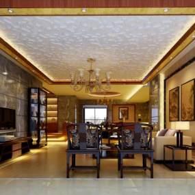新中式客厅3D模型【ID:534712062】