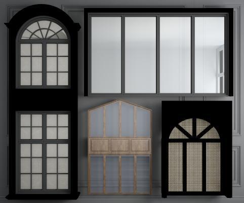 美式實木窗戶3D模型【ID:342512249】