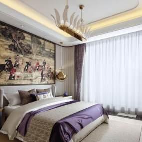 现代卧室 3D模型【ID:541756246】
