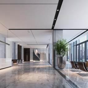 现代办公大厅3D模型【ID:944200258】