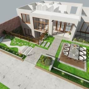 现代庭院3D模型【ID:131296404】