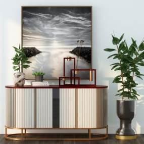现代轻奢边柜植物盆栽组合3D模型【ID:136161041】