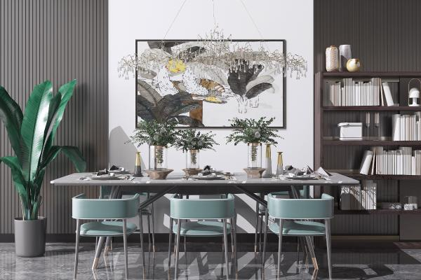 现代餐桌椅花瓶组合3D模型【ID:850057825】