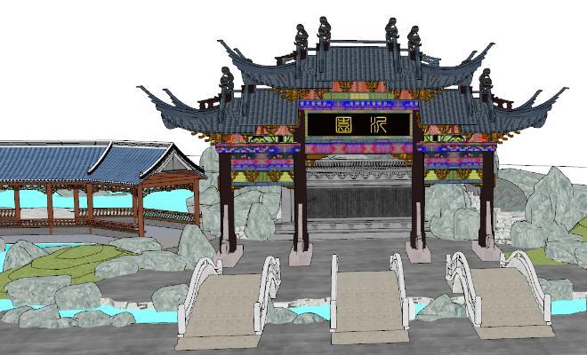 中式古建筑SU模型【ID:851743648】