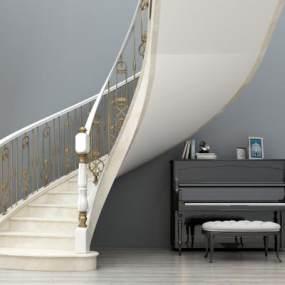 欧式简约旋转楼梯3D模型【ID:335861522】