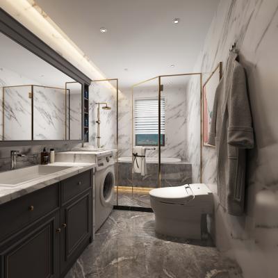 美式卫生间 镜子 浴室柜