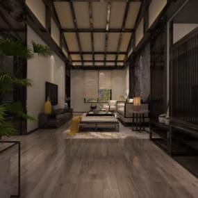 新中式民宿客房整体3D模型【ID:733377316】