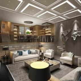 现代别墅客厅3D模型【ID:533233043】