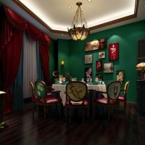 民国风餐厅包房3D模型【ID:653227836】