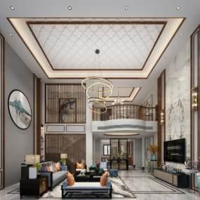 新中式别墅客餐厅 3D模型【ID:541400055】