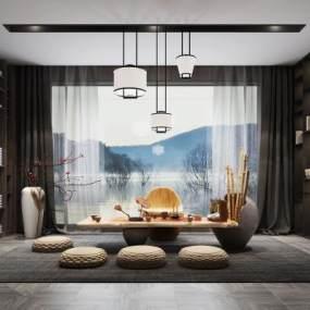 新中式风格茶室3D模型【ID:642037180】