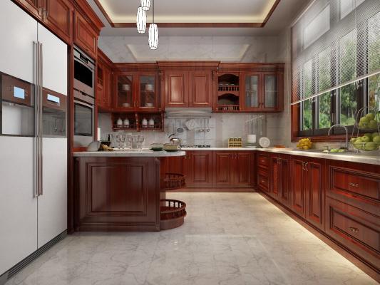 新中式厨房3D模型【ID:145876732】