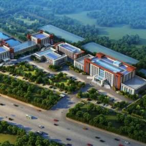 现代厂区办公楼建筑鸟瞰3D模型【ID:235044098】