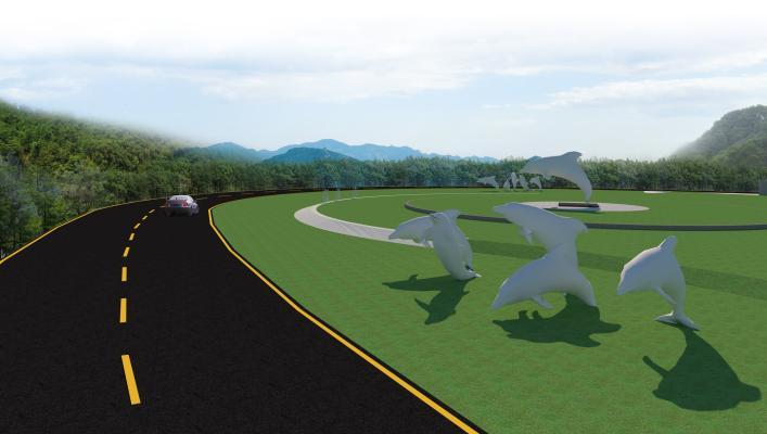 現代市政山路道路邊坡綠化SU模型【ID:346206217】