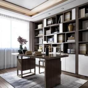 新中式书房3D模型【ID:544594401】