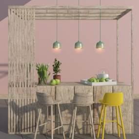 现代木质吧台桌椅组合3D模型【ID:945288229】
