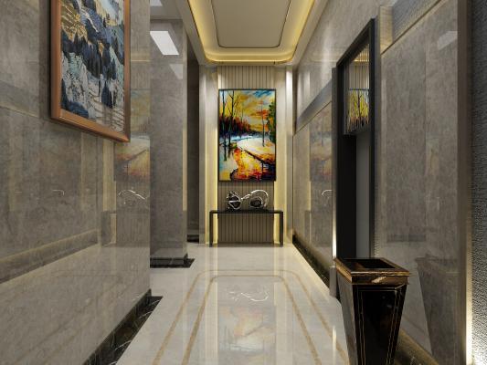 酒店电梯间3D模型【ID:741742606】