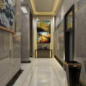 酒店电梯间 3D模型【ID:741742606】