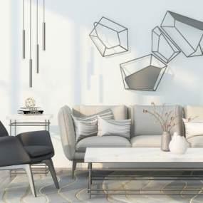 现代组合沙发3D模型【ID:636161779】