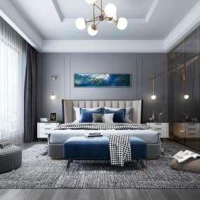 现代轻奢卧室3D模型【ID:548905226】