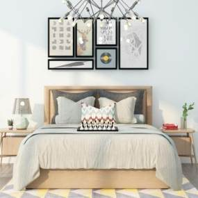 现代双人床挂画吊灯组合3D模型【ID:835724732】
