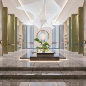 新中式酒店大堂过道水景3D模型【ID:752451090】