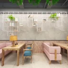 工业风咖啡厅3D模型【ID:630445347】