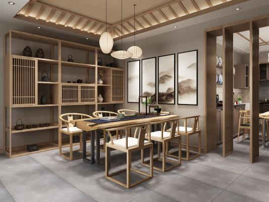 新中式茶室 吊灯 置物架