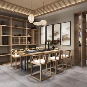 新中式茶室3D模型【ID:647273687】