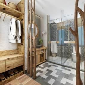 新中式民宿卫生间浴室3D模型【ID:443863116】