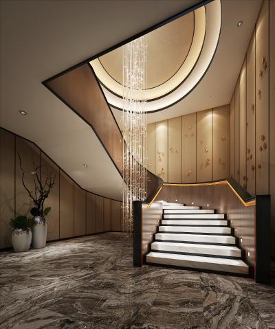 酒店樓梯走廊3D模型【ID:741639494】