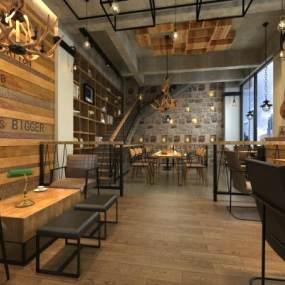工业风咖啡厅3D模型【ID:632830309】