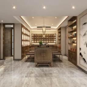 新中式茶室3D模型【ID:649286150】