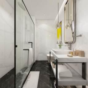 現代風格酒店衛生間3D模型【ID:443569131】