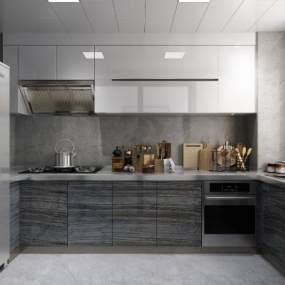现代风格厨房3D模型【ID:534640370】