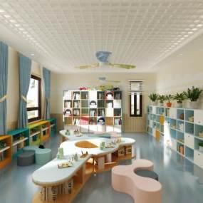 现代幼儿园阅览室3D模型【ID:952906671】