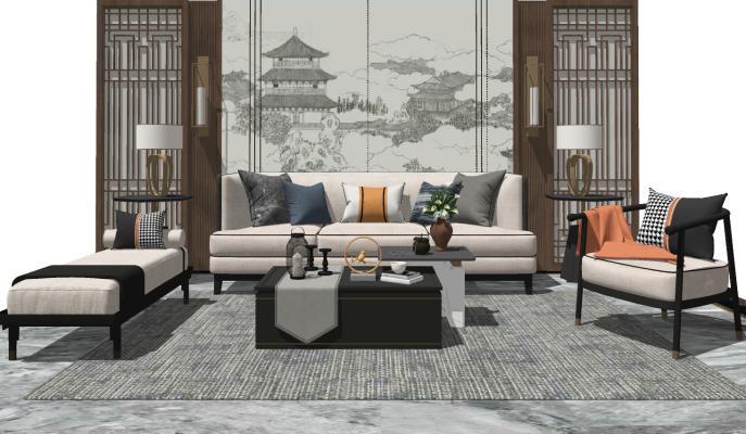 新中式沙發茶幾組合SU模型【ID:450685126】
