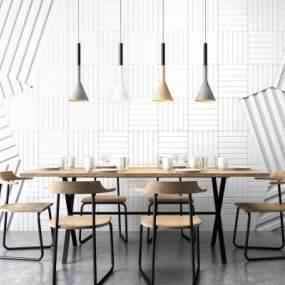 北歐餐桌椅吊燈組合3D模型【ID:842155839】