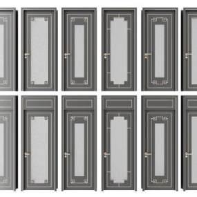 新中式房门组合3D模型【ID:349291192】