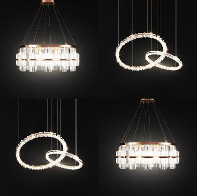 现代轻奢水晶吊灯组合 金属吊灯 水晶吊灯