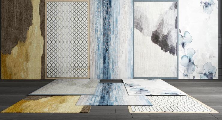 新中式地毯客餐厅沙发地毯现代地毯3D模型【ID:341577254】