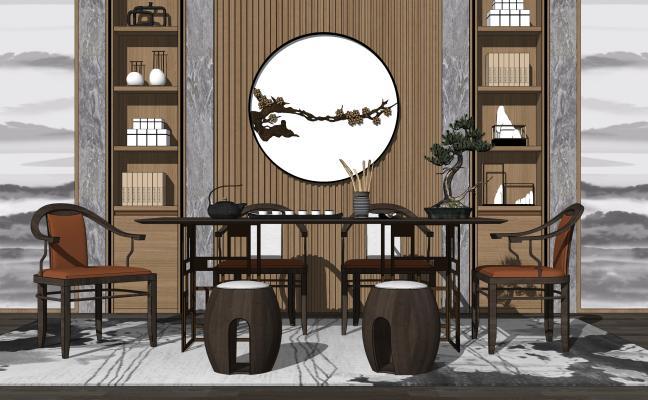 新中式茶桌椅组合