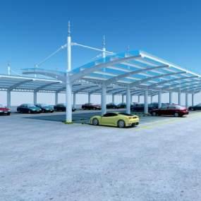现代室外停车棚3D模型【ID:930507982】