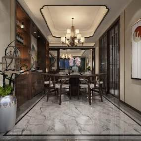 新中式餐厅3D模型【ID:536090148】