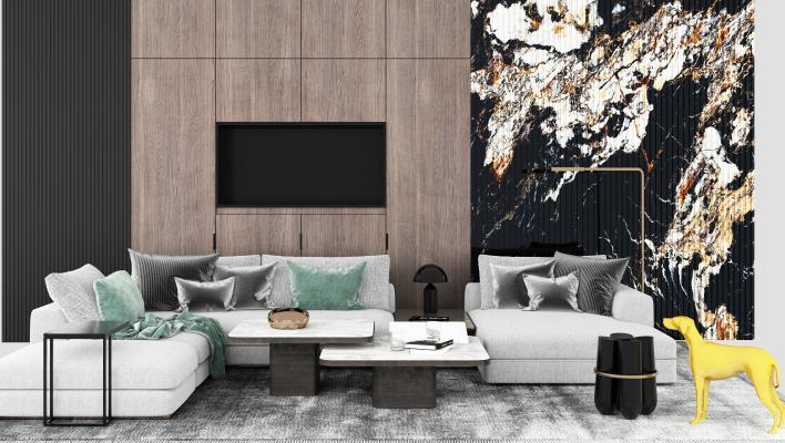现代沙发组合3D模型【ID:648895742】