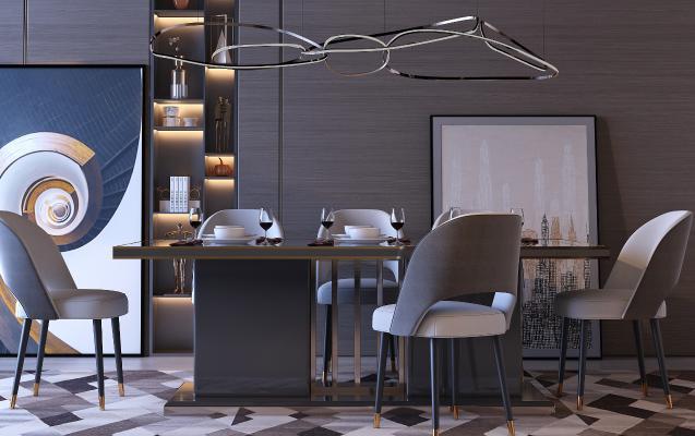 現代輕奢餐桌椅組合3D模型【ID:748206197】