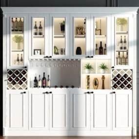 现代酒柜3D模型【ID:632859244】