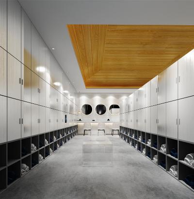 现代公共洗浴中心更衣室3D模型【ID:842144313】